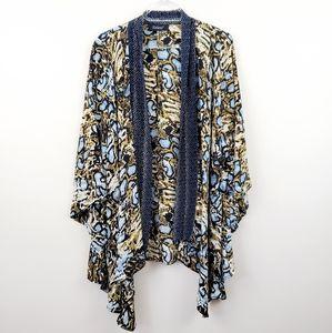 Tolani | Blue Snake Print Open Front Silk Kimono